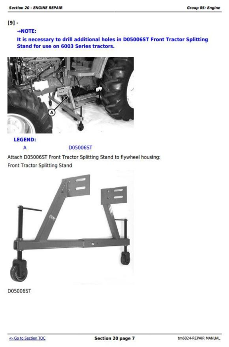 Fourth Additional product image for - John Deere Tractors 6403 and 6603 2WD or MFWD (North American) Service Repair Technical Manual (tm6024)