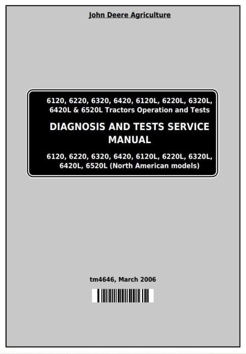 First Additional product image for - John Deere Tractors 6120,6220, 6320,6420, 6120L,6220L, 6320L,6420L,6520L Diagnostic Service Manual TM4646