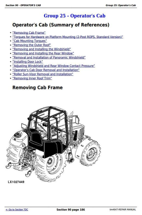 Third Additional product image for - John Deere Tractor 6120, 6220, 6320, 6420, 6120L, 6220L, 6320L, 6420L, 6520L Service Repair Manual TM4647