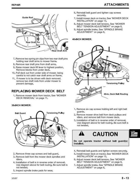 Third Additional product image for - Sabre 1338, 1538, 15338, 1546, 1638, 1646 (GS/HS) Lawn Tractors (John Deere) Technical Manual (tmgx10131)