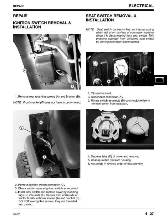 Fourth Additional product image for - Sabre 1338, 1538, 15338, 1546, 1638, 1646 (GS/HS) Lawn Tractors (John Deere) Technical Manual (tmgx10131)