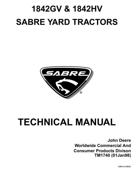 First Additional product image for - John Deere Sabre 1842GV, Sabre 1842HV Yard Tractors Diagnostic & Repair Technical Service Manual (TM1740)
