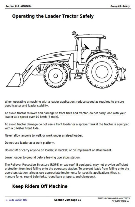 Fourth Additional product image for - John Deere Tractors 5425, 5425HC, 5425N, 5625, 5625HC, 5725, 5725N Diagnostic Service Manual (TM6033)