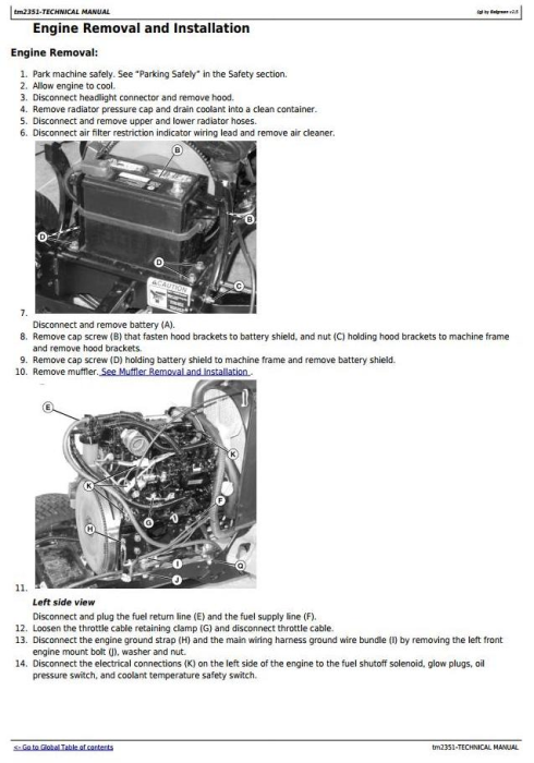 Third Additional product image for - John Deere X700, X740, X748 Ultimate Select Series Tractors (Export Edition) Technical Manual (tm2351)