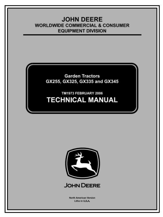 First Additional product image for - John Deere GX325, GX335, GX345, GX255 Lawn and Garden Tractors Technical Service Manual (tm1973)