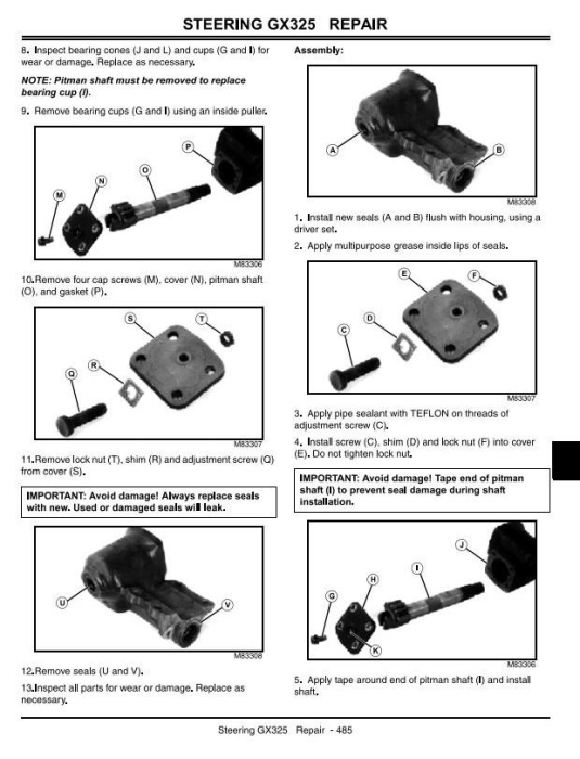 Fourth Additional product image for - John Deere GX325, GX335, GX345, GX255 Lawn and Garden Tractors Technical Service Manual (tm1973)