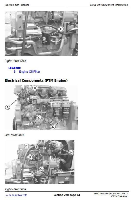 Second Additional product image for - John Deere Tractors 6095B, 6110B, 6120B, 6135B, 6140B, 954,1104,1204,1354,1404 Diagnostic Manual TM701819