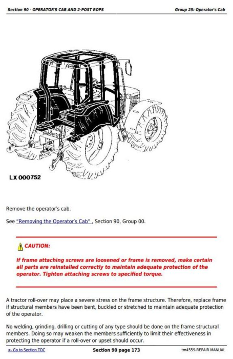 Second Additional product image for - John Deere Tractors 6010, 6110, 6210, 6310, 6410, 6510, 6610 (SE) Service Repair Technical Manual TM4559