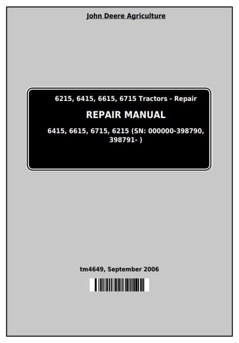 First Additional product image for - John Deere Tractors 6215, 6415, 6615, 6715 Service Repair Technical Manual (tm4649)