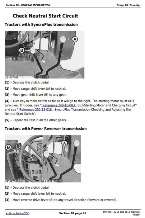 Fourth Additional product image for - John Deere Tractors 6215 and 6515 (European) Service Repair Technical Manual (tm4645)