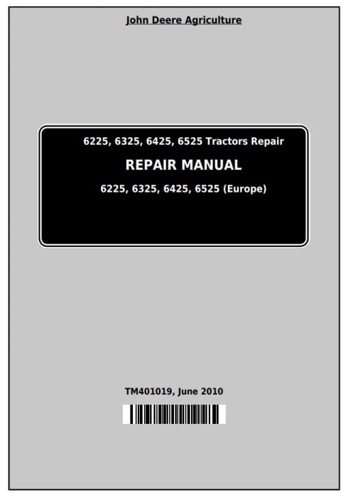 First Additional product image for - John Deere Tractors 6225, 6325, 6425, 6525 (European) Service Repair Technical Manual (TM401019)