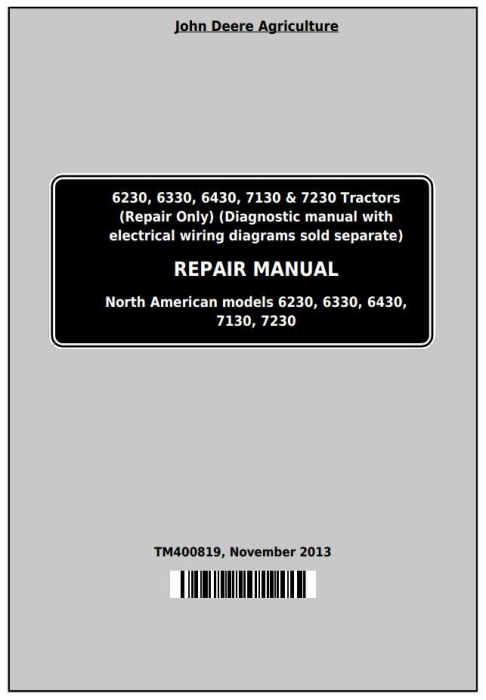 First Additional product image for - John Deere Tractors 6230, 6330, 6430, 6530, 6630, 7130, 7230 (USA, Canada) Service Repair Manual TM400819