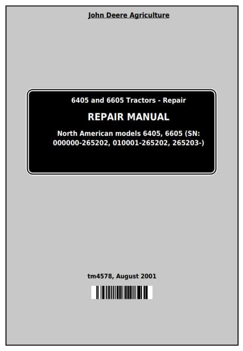 First Additional product image for - John Deere Tractors 6405 and 6605 (North American) Service Repair Technical Manual (TM4578)