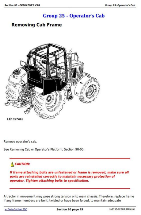 Second Additional product image for - John Deere Tractors 6415 and 6615 (South America) Service Repair Technical Manual (TM8130)