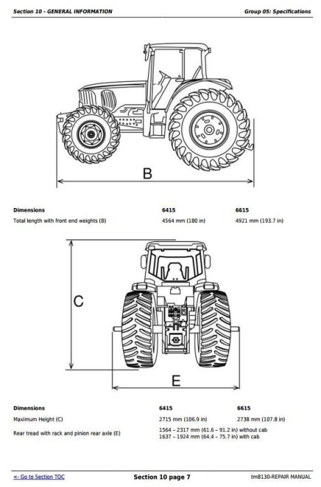 Fourth Additional product image for - John Deere Tractors 6415 and 6615 (South America) Service Repair Technical Manual (TM8130)