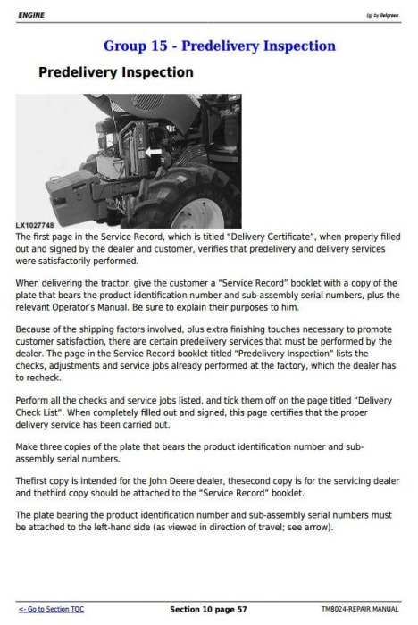 Fourth Additional product image for - John Deere Tractors 6830 and 6930 Premium (European Edition) Service Repair Technical Manual (TM8024)