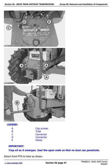 Fourth Additional product image for - John Deere Tractors 6830, 6930 (European) Service Repair Technical Manual (TM400619)