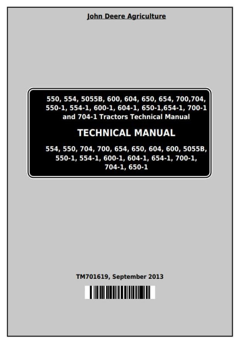 First Additional product image for - John Deere Tractors 550, 554, 5055B, 600, 604, 650, 654, 700, 704 China Technical Service Manual TM701619