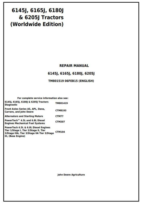 First Additional product image for - John Deere 6145J, 6165J, 6180J & 6205J (Worldwide Edition) Tractors Service Repair Manual (TM801519)