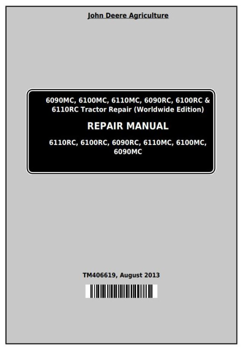 First Additional product image for - John Deere Tractor 6090MC, 6100MC, 6110MC, 6090RC, 6100RC,6110RC Service Repair Technical Manual TM406619