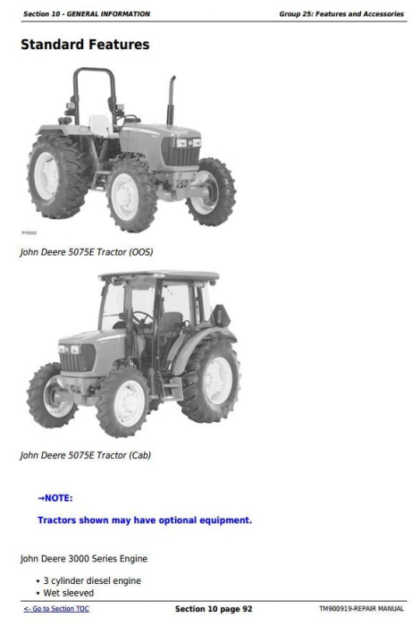 Third Additional product image for - Deere Tractors 5055E, 5065, 5075E (North America) Service Repair Technical Manual (TM900919)