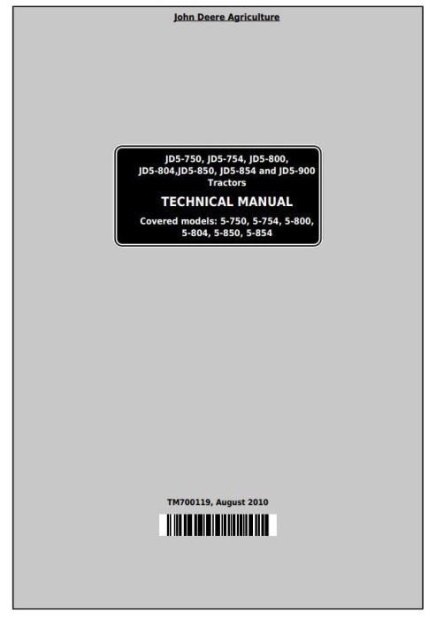 First Additional product image for - John Deere Tractors 5-750,5-754, 5-800,5-804, 5-850,5-854,5-900 (China) Technical Service Manual TM700119