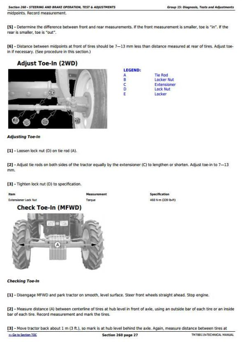 Fourth Additional product image for - John Deere Tractors 5-750,5-754, 5-800,5-804, 5-850,5-854,5-900 (China) Technical Service Manual TM700119