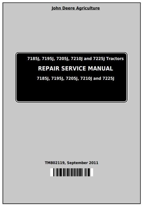 First Additional product image for - John Deere 7185J, 7195J, 7205J, 7210J, 7225J (Worldwide) Tractors Service Repair Manual (TM802119)