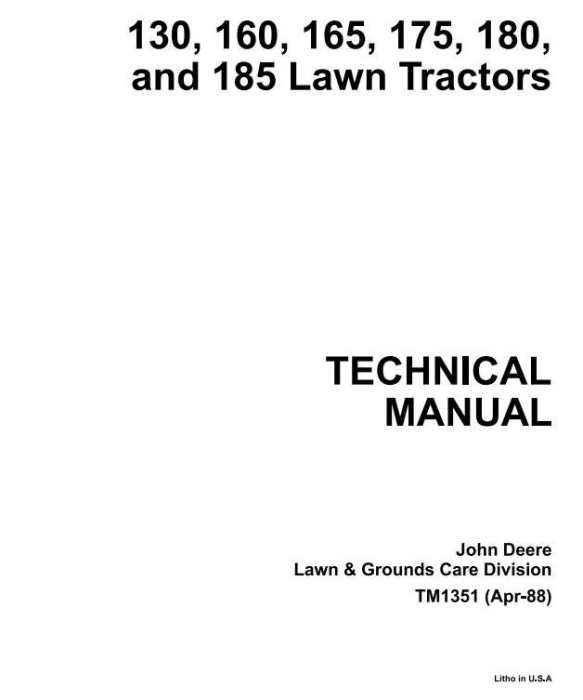 First Additional product image for - John Deere 130, 160, 165, 170, 175, 180, 185  Riding Lawn Tractors Technical Service Manual (tm1351)