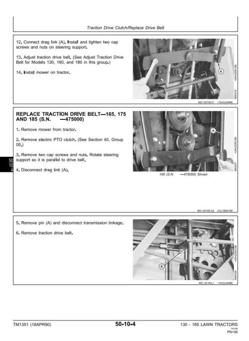 Second Additional product image for - John Deere 130, 160, 165, 170, 175, 180, 185  Riding Lawn Tractors Technical Service Manual (tm1351)