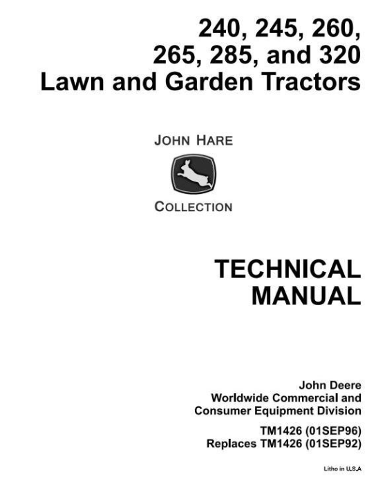 First Additional product image for - John Deere 240, 245, 260, 265, 285, 320 Lawn and Garden Tractors Technical Service Manual (tm1426)