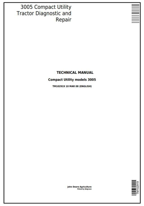 First Additional product image for - Deere 3005 Compact Utility Tractors Diagnostic and Repair Technical Manual (TM102919)