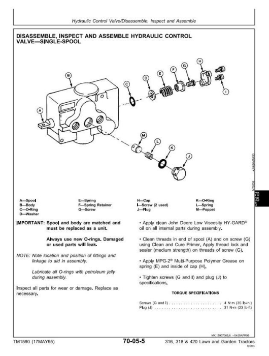 Second Additional product image for - John Deere 316, 318, 420 Lawn and Garden Tractors Diagnostic and Repair Technical Service Manual (tm1590)
