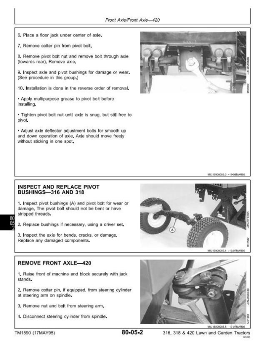Third Additional product image for - John Deere 316, 318, 420 Lawn and Garden Tractors Diagnostic and Repair Technical Service Manual (tm1590)