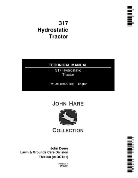 First Additional product image for - Deere Hydrostatic Tractor Type 317 All Inclusive Technical Service Manual (TM1208)
