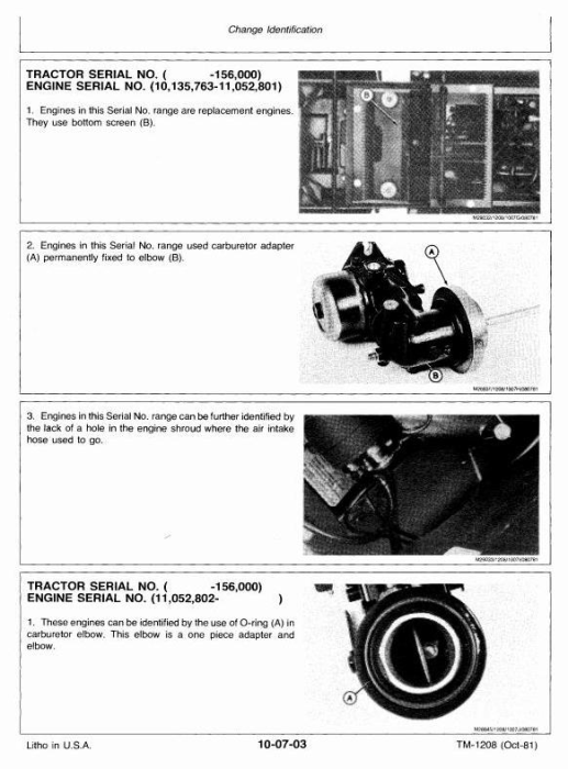 Second Additional product image for - Deere Hydrostatic Tractor Type 317 All Inclusive Technical Service Manual (TM1208)