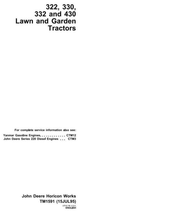 First Additional product image for - John Deere 322, 330, 332, 430 Lawn and Garden Tractors Technical Service Manual (tm1591)