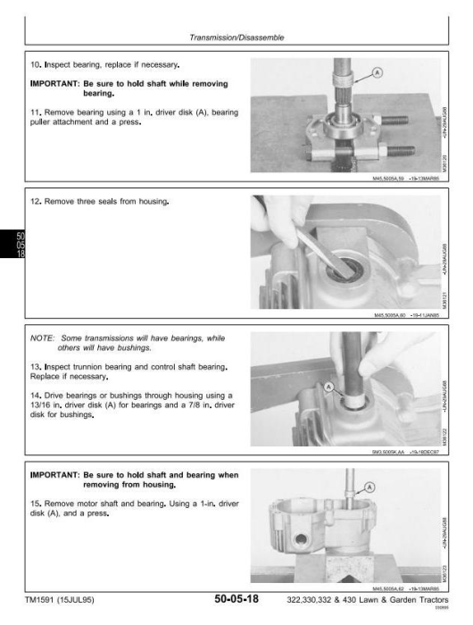 Second Additional product image for - John Deere 322, 330, 332, 430 Lawn and Garden Tractors Technical Service Manual (tm1591)