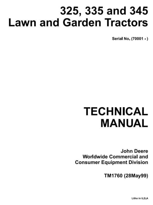 First Additional product image for - John Deere 325, 345, 335 Lawn and Garden Tractors (SN. 070001-) Technical Service Manual (tm1760)
