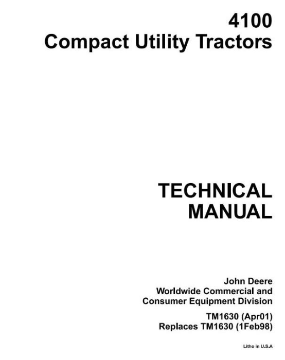 First Additional product image for - John Deere 4100 Compact Utility Tractors Technical Service Manual (tm1630)