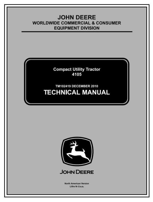 First Additional product image for - John Deere 4105 Compact Utility Tractors All Incliusive Technical Service Manual (tm102419)