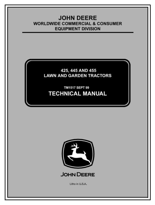 First Additional product image for - John Deere  425, 445 & 455  Lawn and Garden Tractors All Inclusive Technical Service Manual (tm1517)
