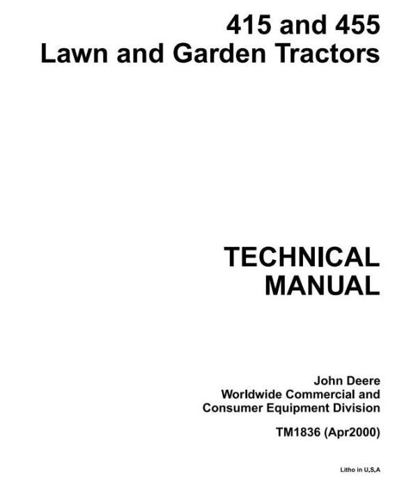 First Additional product image for - John Deere 415, 455 Lawn and Garden Tractors Diagnostic an Repair Technical Service Manual (tm1836)