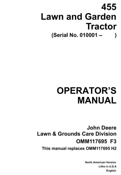 First Additional product image for - John Deere Lawn and Garden Tractors Operator`s Manual (omm117695f3)