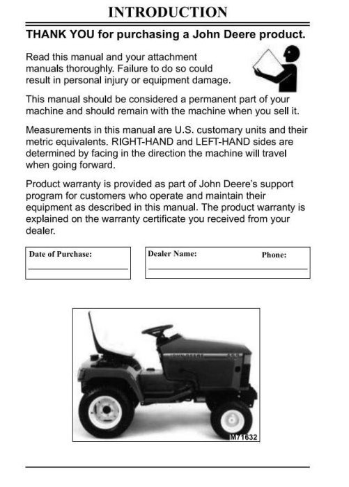 Second Additional product image for - John Deere Lawn and Garden Tractors Operator`s Manual (omm117695f3)