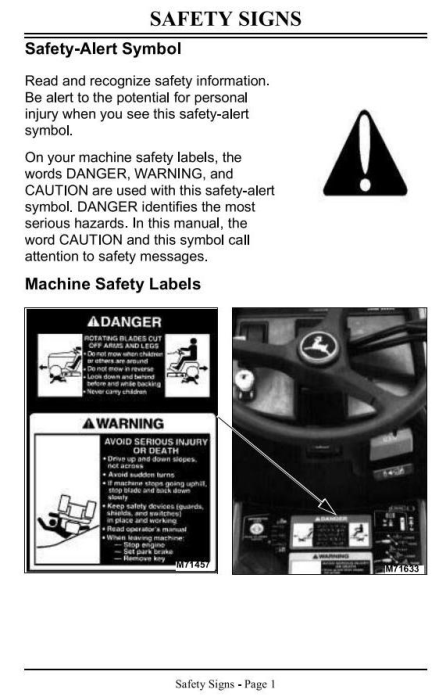 Third Additional product image for - John Deere Lawn and Garden Tractors Operator`s Manual (omm117695f3)