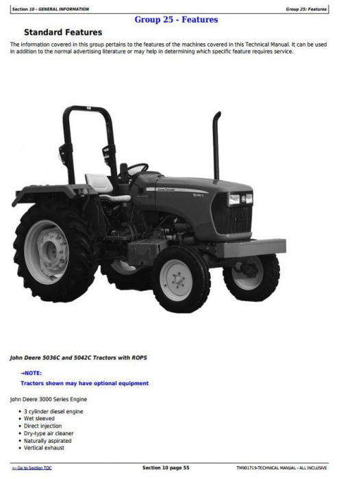 First Additional product image for - Deere Tractors 5036C, 5042C (Export) PIN Prefix PY or 1PY All Inclusive Technical Manual (TM901719)
