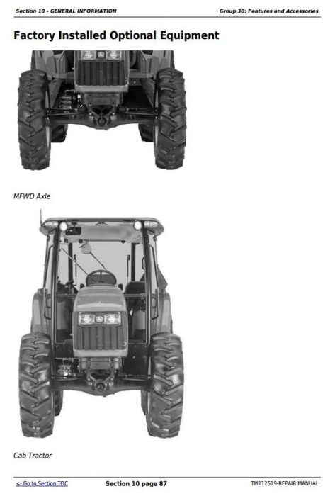 Third Additional product image for - Deere Tractors 5083E, 5093E, 5101E and Limited Models Service Repair Manual (TM112519)