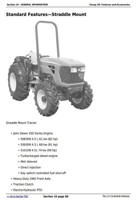Second Additional product image for - Deere 5083EN, 5093EN, 5101EN Tractors Repair Technical Service Manual (TM112719)