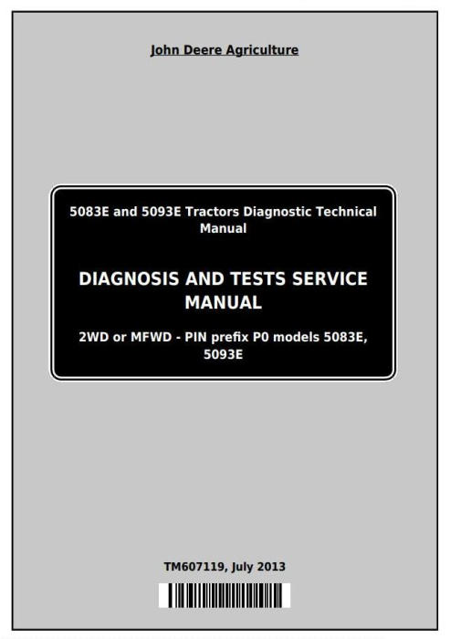 First Additional product image for - Deere Tractors 5083E and 5093E Diagnostic and Tests Service Manual (TM607119)
